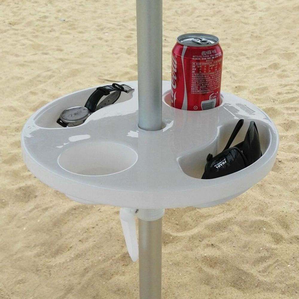 Beach umbrella table with cup holder white 12 round