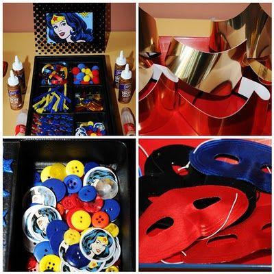 Superhero Masks To Decorate Setting The Mood Wonder Woman Birthday Party  Nessa's 5Th Bday