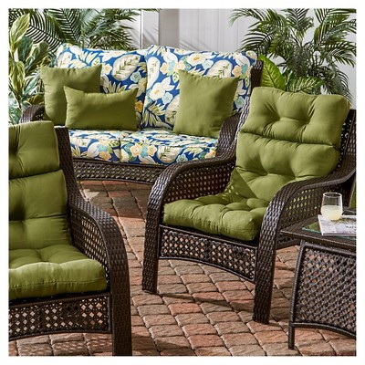 Set Of 2 Solid Outdoor High Back Chair Cushions Hunter Kensington Garden In 2021 Chair Cushions Outdoor Chair Cushions High Back Chairs