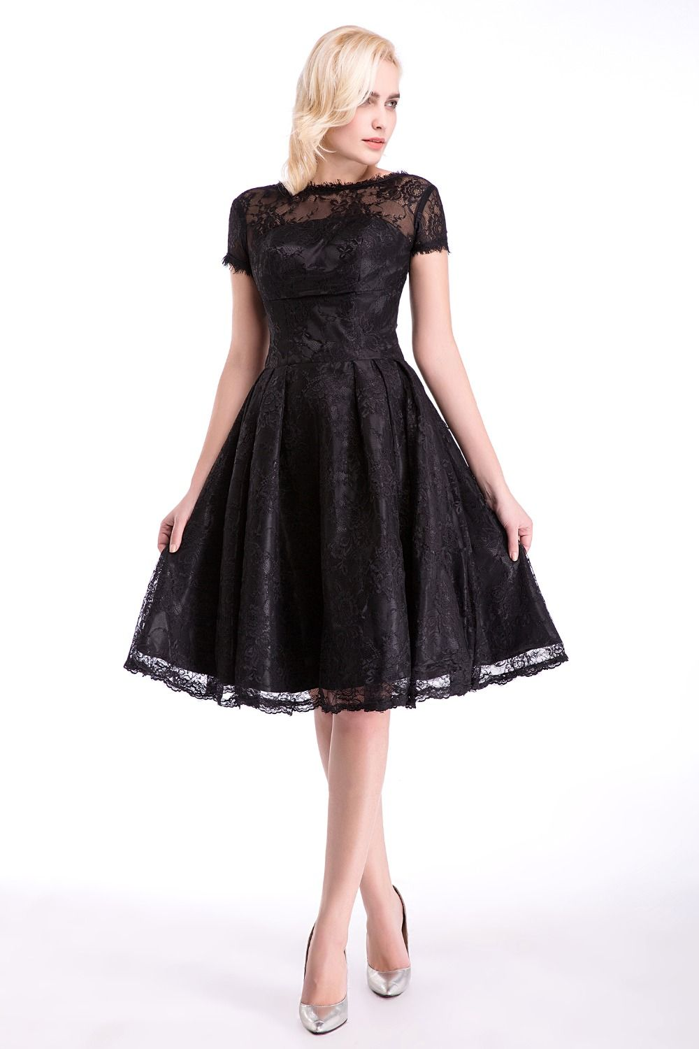new little black high alline pleat backless kneelength lace