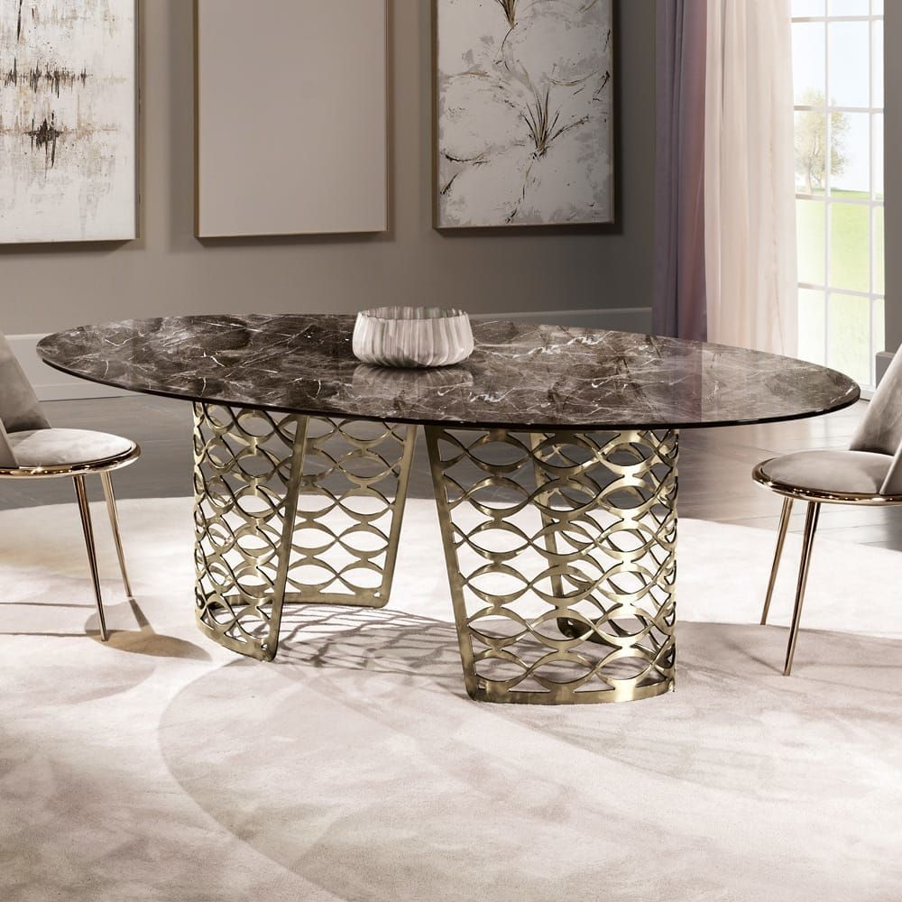 High End Italian Bronze Oval Marble Dining Table | Luxury dining tables, Dining table marble ...