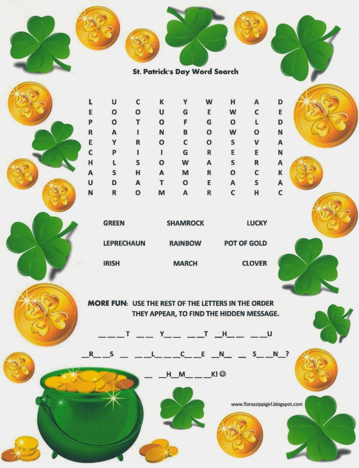 St Patrick S Day Word Search