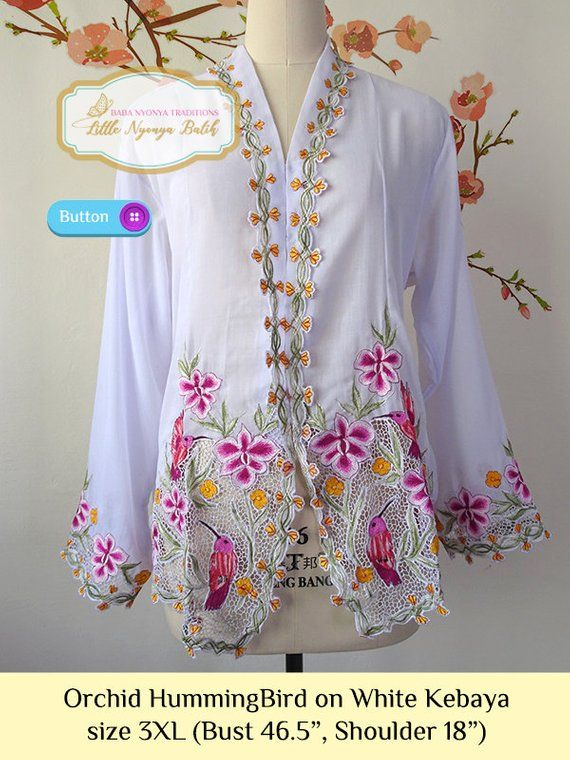 Photo of size 3XL: Plus Size Peranakan Kebaya Basic Quality with Button. motif Orchid and Butterfly