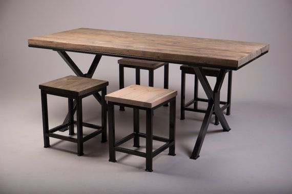 Kew Industrial Wooden Dining Table Vintage Reclaimed Rustic X