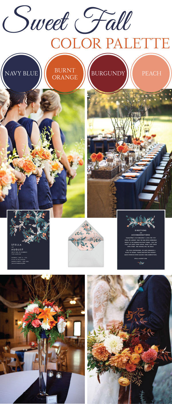 Sweet Fall Wedding Color Palette Weddings Blog And Wedding - Burnt orange and green wedding colors