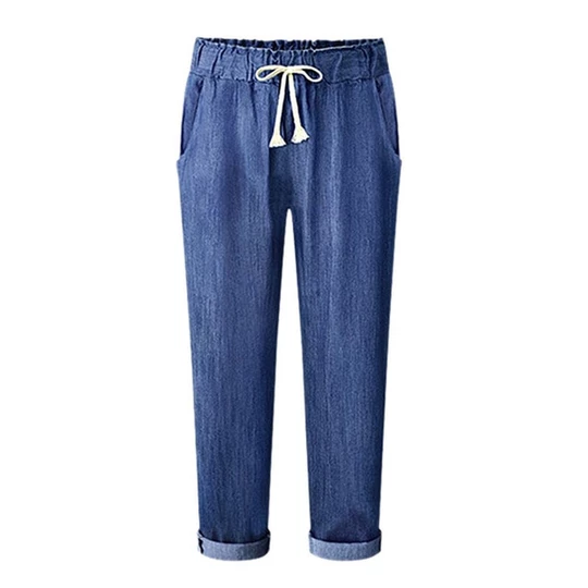 Women High Elastic Waist Trousers Jeans Denim Casual Loose Long Pants Plus Size