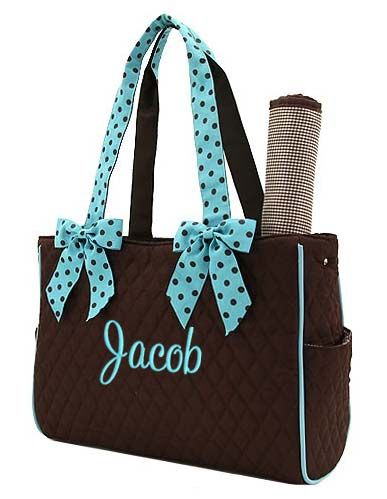 Personalized Diaper Bag In Brown With Blue Polka Dots