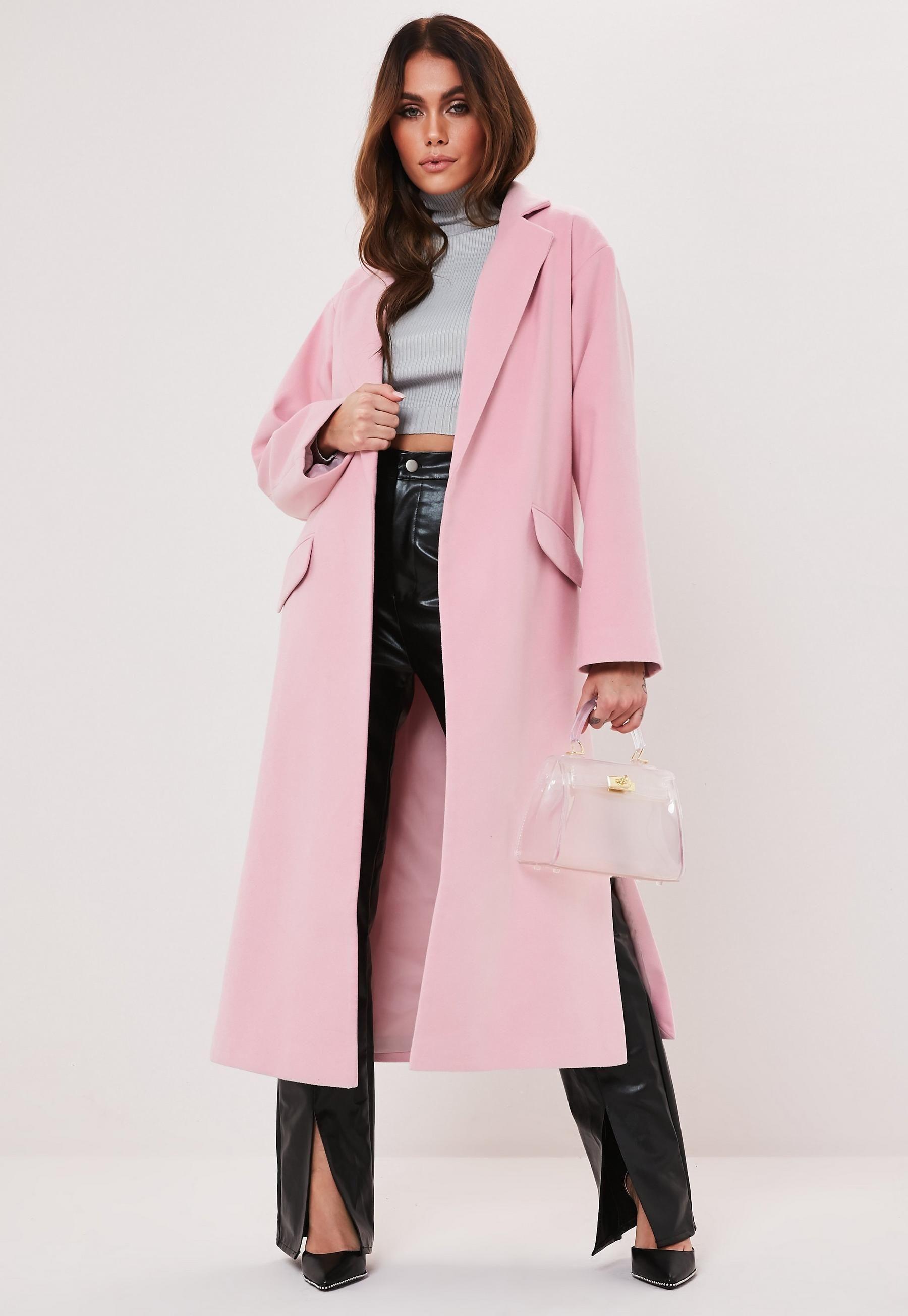 Pink Side Split Formal Midaxi Coat Missguided Fashion Coat Women S Coats Jackets [ 2608 x 1800 Pixel ]