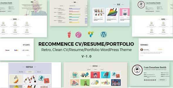 Recommence Retro Resume WordPress Theme Wordpress, Retro and
