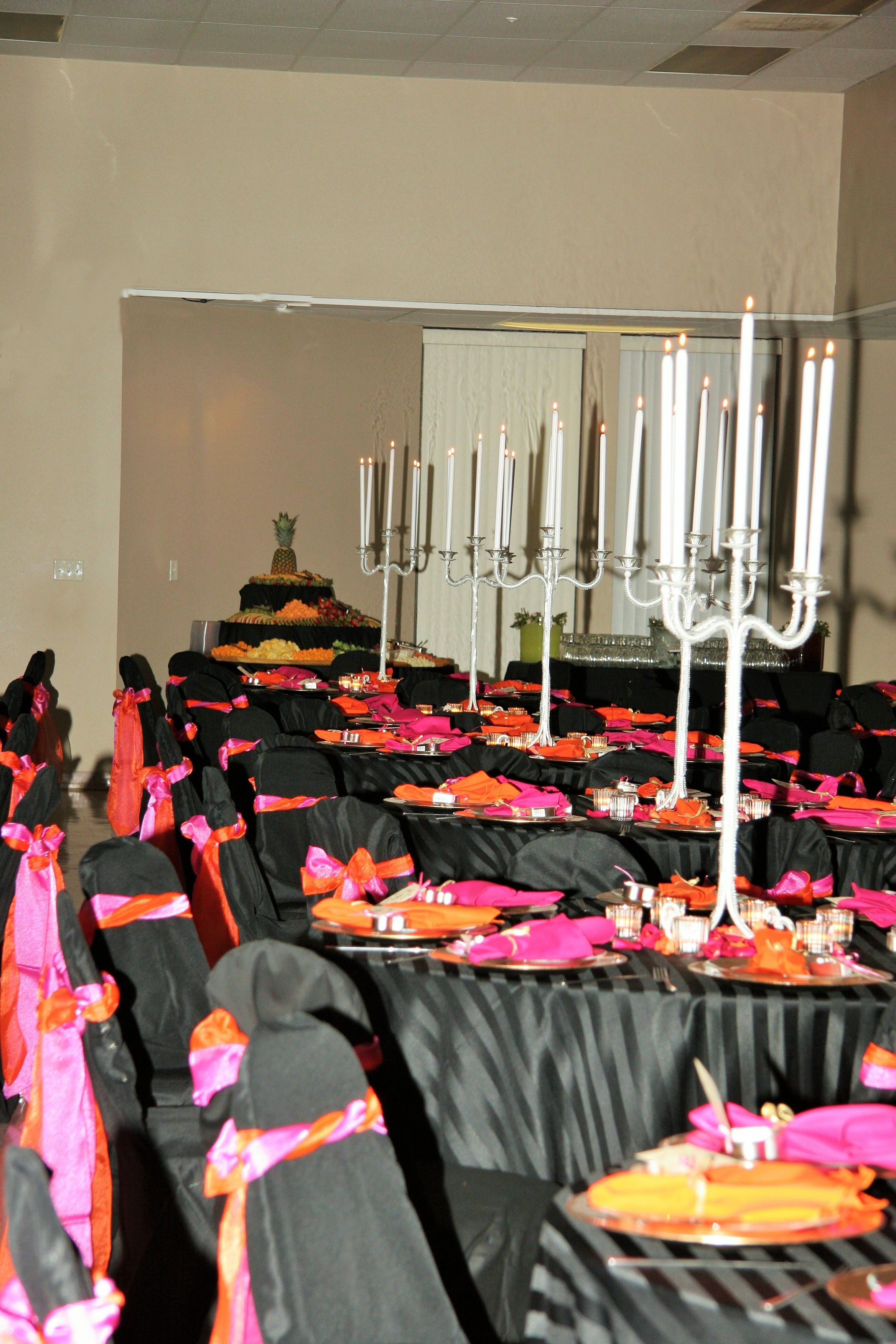 Wedding Decor Black Linen With Orange And Pink, Tall Candle