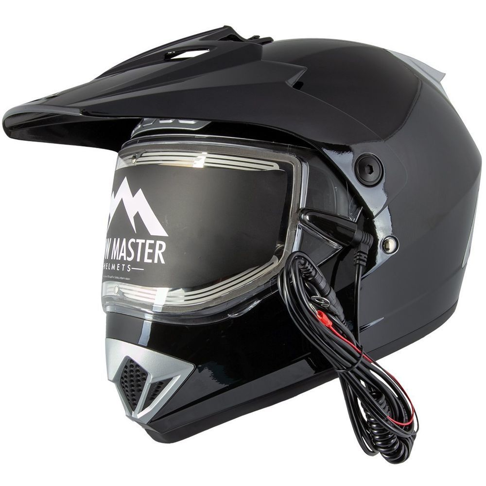 Snowmobile Helmets For Sale >> Snow Master Tx 45 Gloss Black Heated Shield Snowmobile Helmet Or
