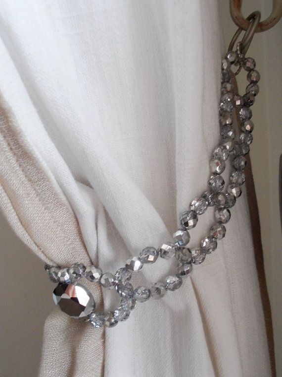 One Silver Grey Glass Beads Curtain Holder Beaded Tie Back