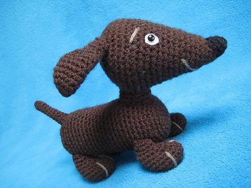 Free Amigurumi Dachshund Pattern : Amigurumi hot dog dachshund animal toy pattern by millionbells