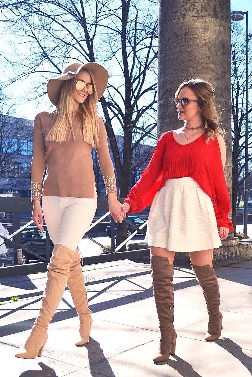 aa019d3893153 Wie kombiniert man helle overknees am besten   Overknees outfit ...