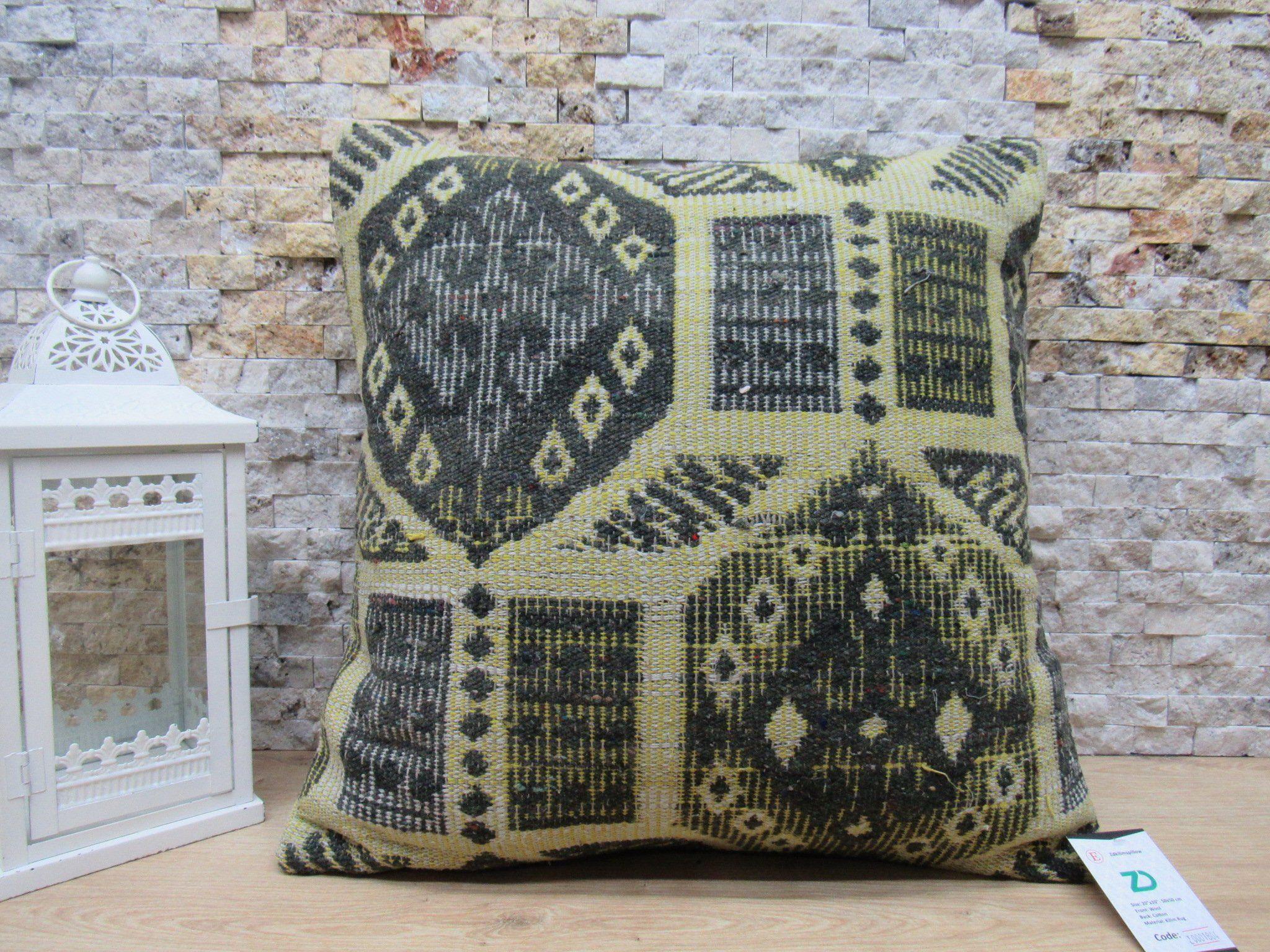 Patterned Kilim Pillow Home Decor Pillow 20x20 Decorative Kilim
