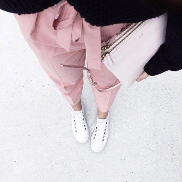 Pants: pink nude pastel pastel pink bow fashion tumblr pink style bag shoes  black black