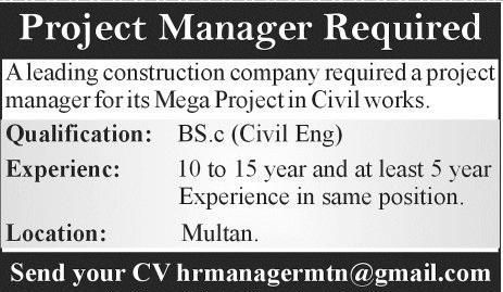 Jobs Available For Project Manager In Construction Company Multan