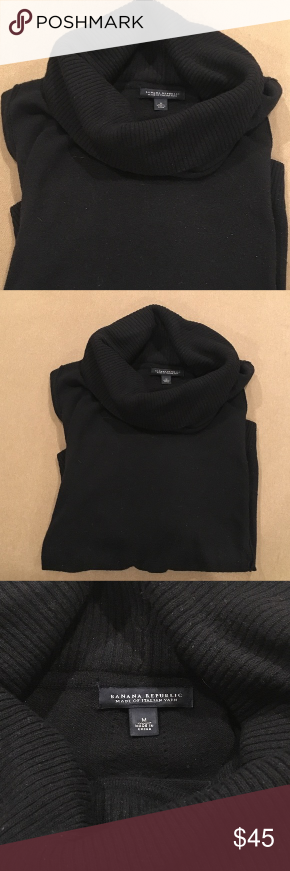 Classic Banana Republic Black Cowl Neck Sweater | Cowl neck ...