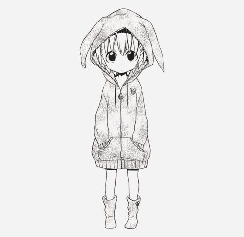 Drawing Anime Little Girl Art Black And White Drawing Girl