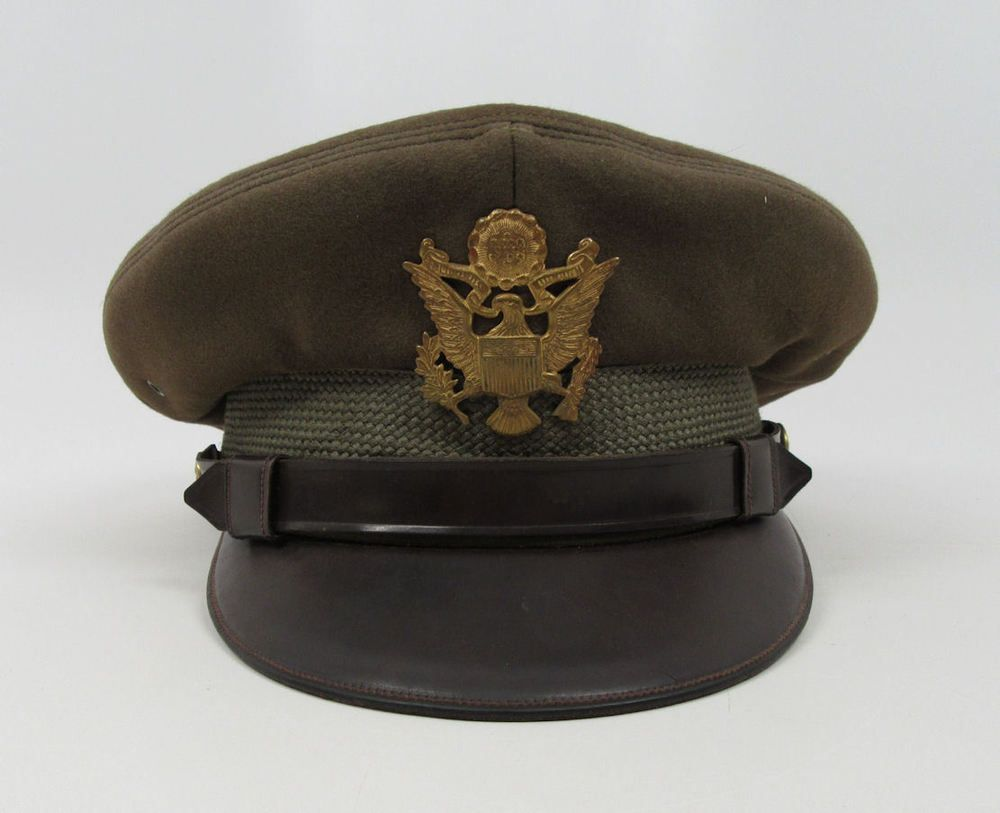 04a88ab7 WW2 US Army Air Corp Force Officer visor hat military NAMED uniform crusher  cap