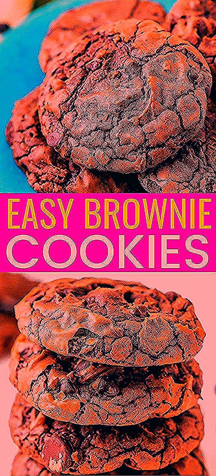 These Brownie Cookies are made from an adapted brownie box mix and are loaded with chocolate chips!