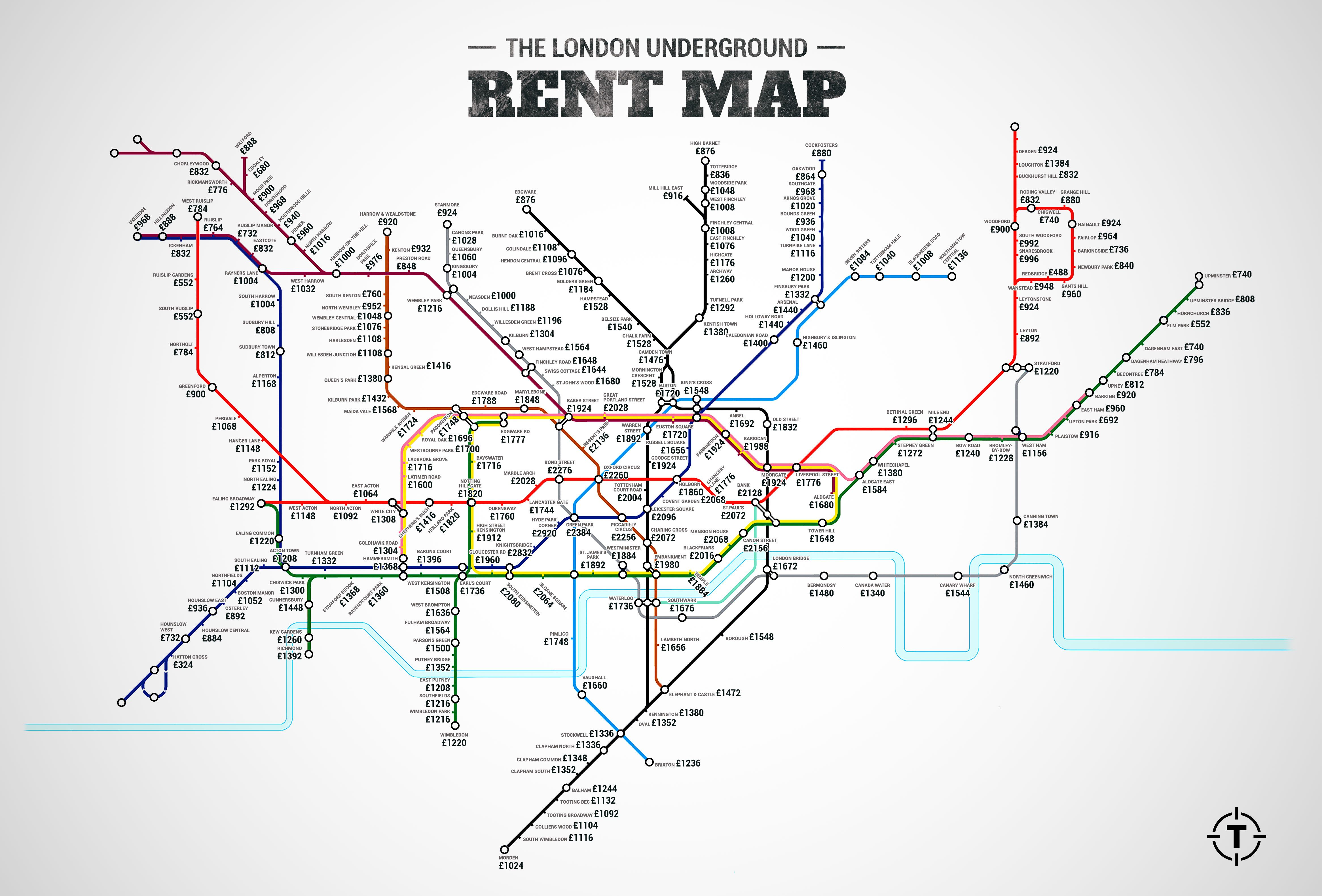 Subway Map Live.The London Underground Rent Map Where You Can T Afford To Live By