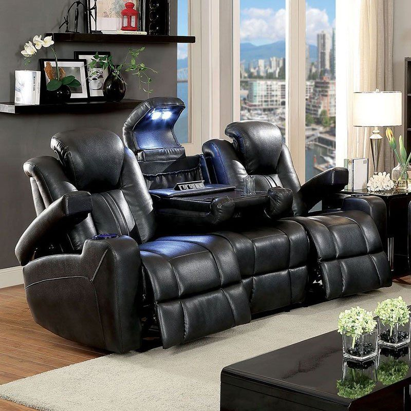 Zaurak Power Reclining Sofa Leather living room set