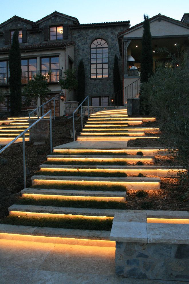 Splashy led strip lights vogue san francisco mediterranean for Exterior stone stairs design