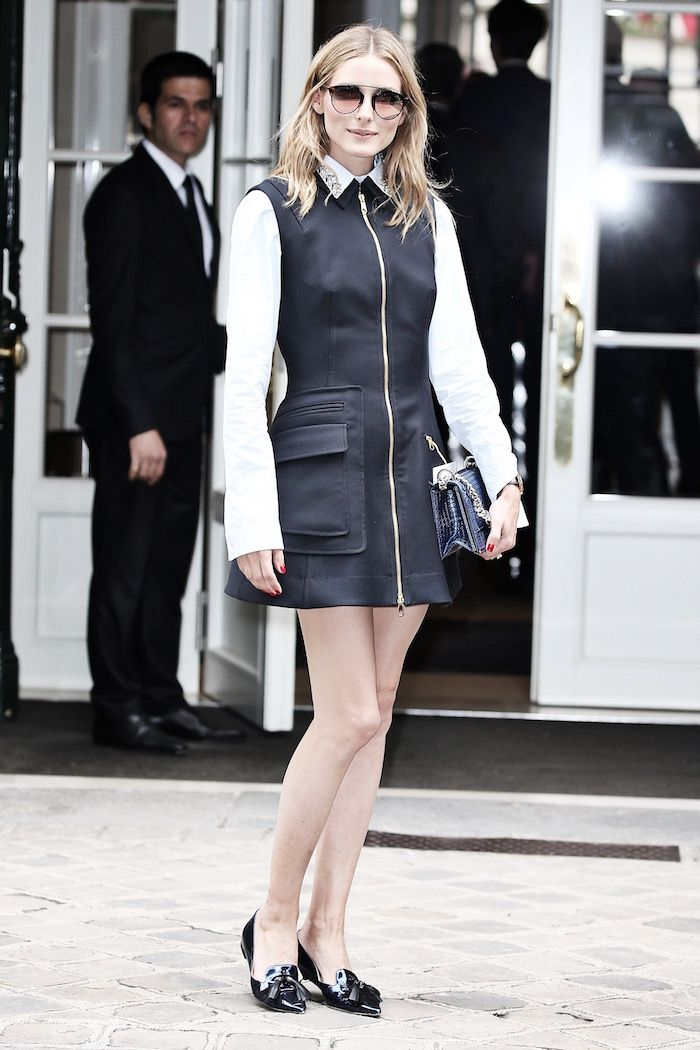 VENZEDITS // OLIVIA PALERMO // BEST DRESSED @PARIS COUTURE FASHION WEEK FW 16 #oliviapalermo #fashion #style #jeweledcollar #blackdress #loafers #mirroredsunglasses #paris #couture