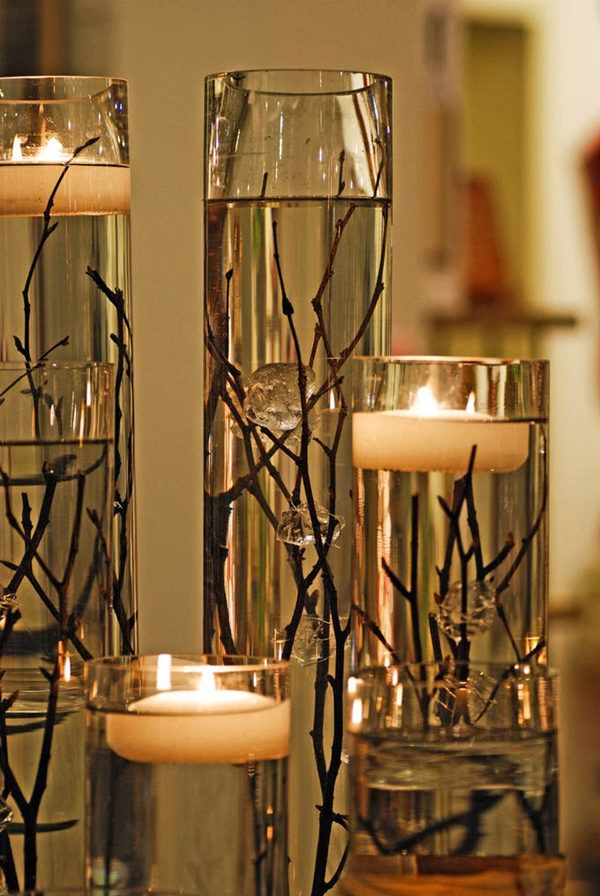 Candles And Twigs For Modern Brides 25 Fabulous Wedding Centerpieces Without Flowers Everafterguide