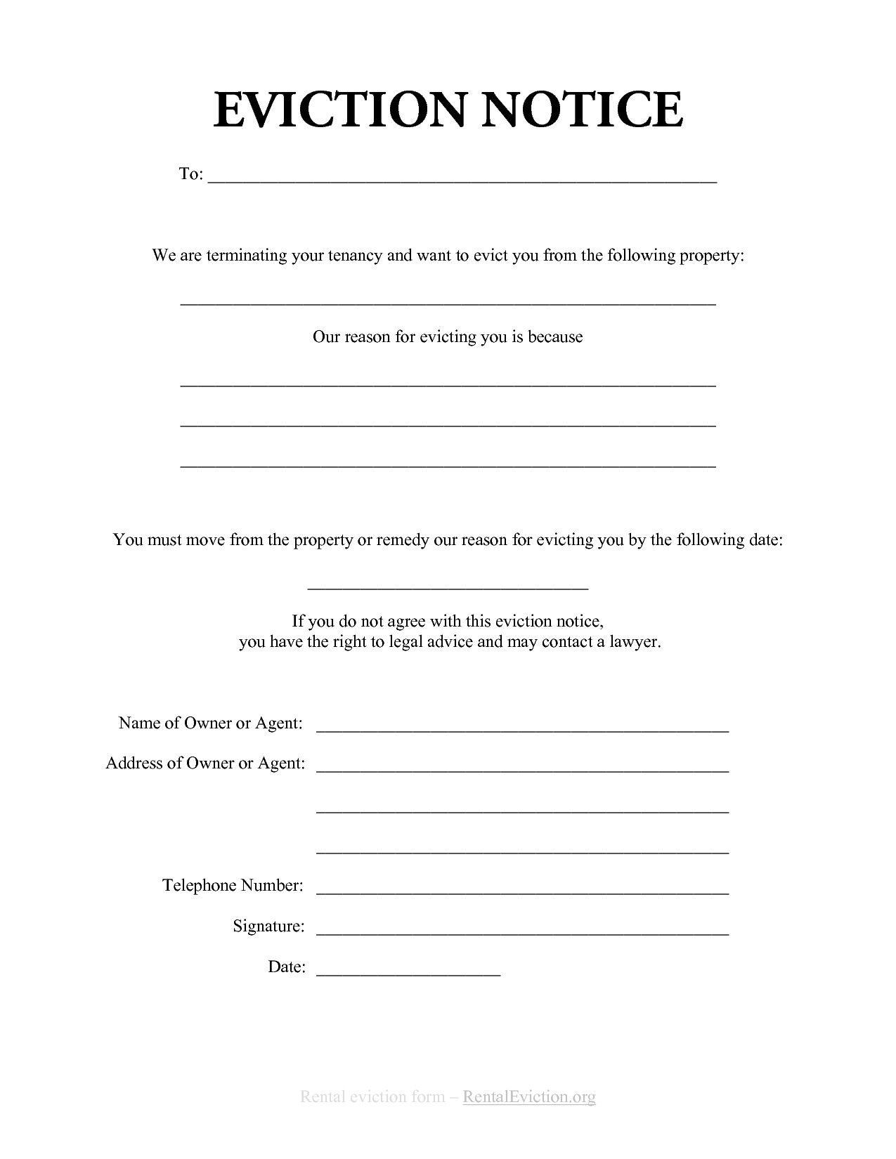 30 Free Printable Eviction Notice Template In 2020 Eviction