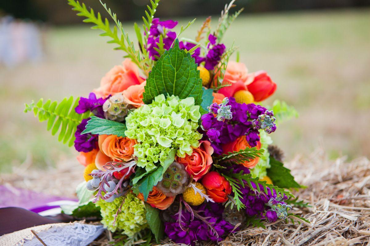 Bridal Bouquet, green, orange, purple, yellow, scabiosa, craspedia, tulips…
