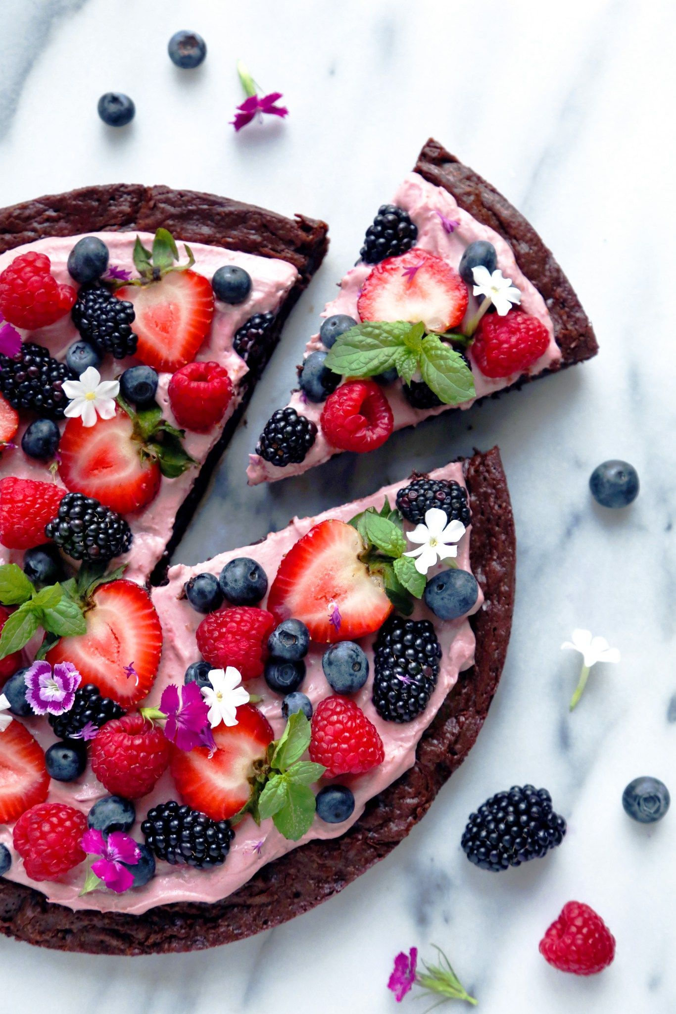 Very Berry Brownie Pizza  Free of grains, gluten, and dairy.