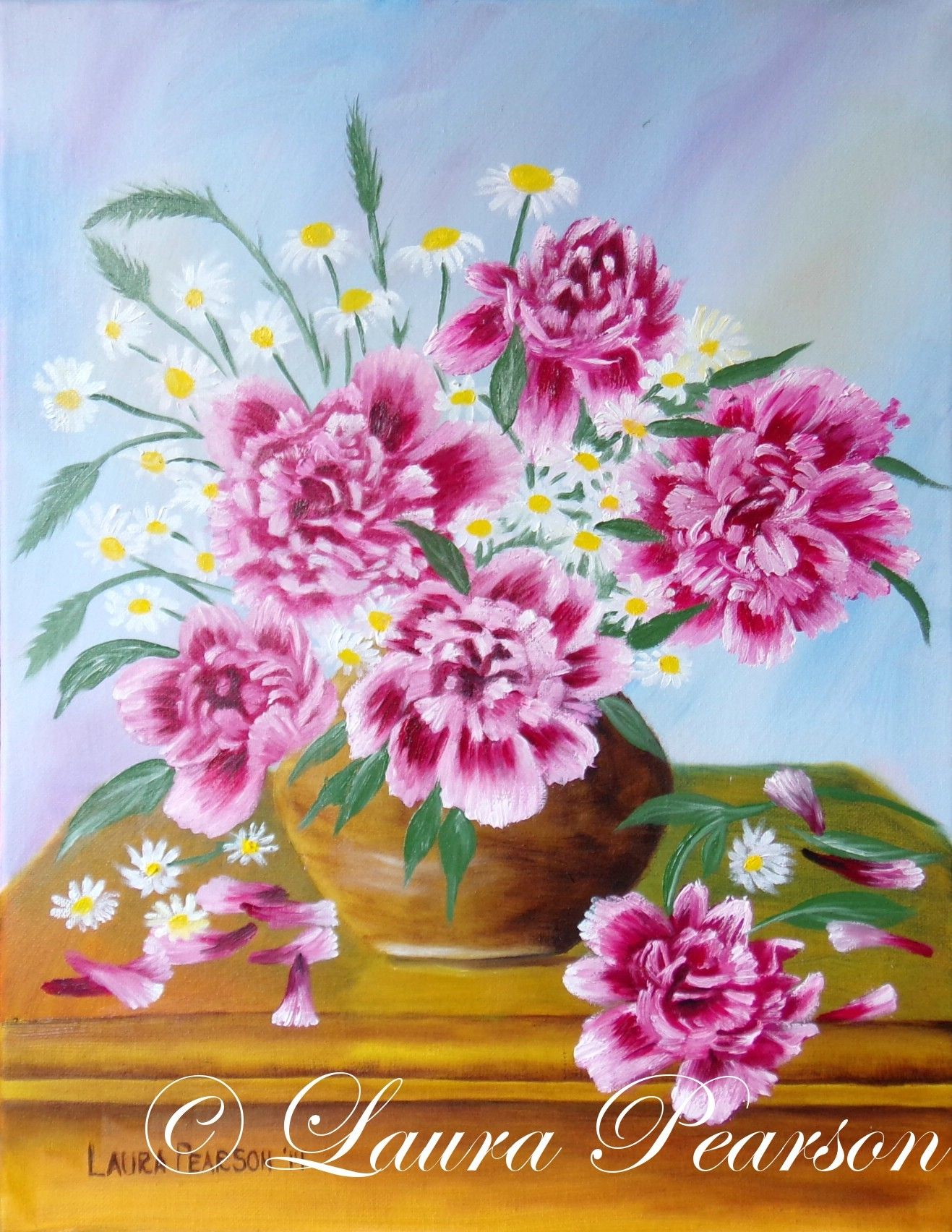 Peonies and daisies colorful beautiful pink god flowers jesus art ...