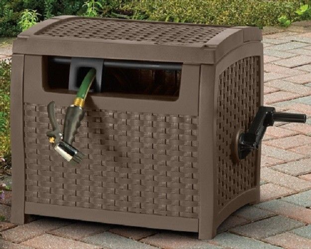 Wicker Hose Reel Storage Box Patio Deck Wind Up Easy Garden Bin Hidden Durable Suncast
