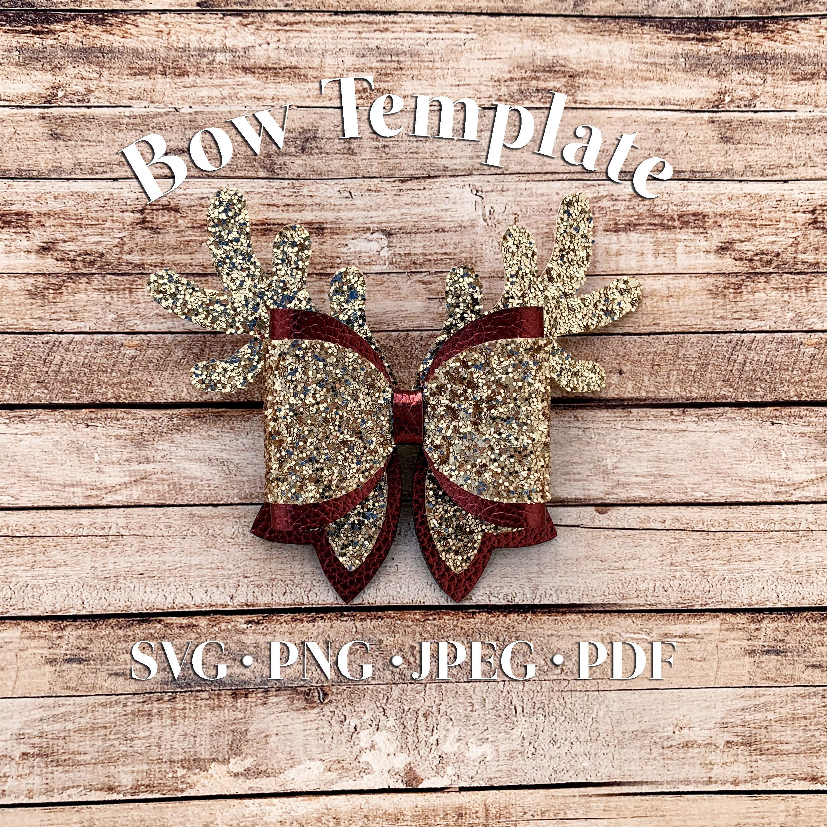 Fancy Reindeer Antlers Hair Bow Template:SVG Bow Template