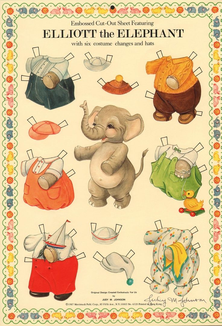 animal paper dolls | Elliot the Elephant by Judy M. Johnson | Animal Paper Dolls and Houses