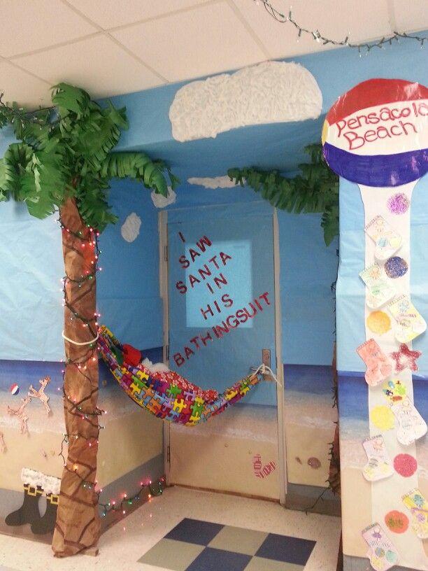 Santa At Pensacola Beach Christmas Door Contest 2013 With