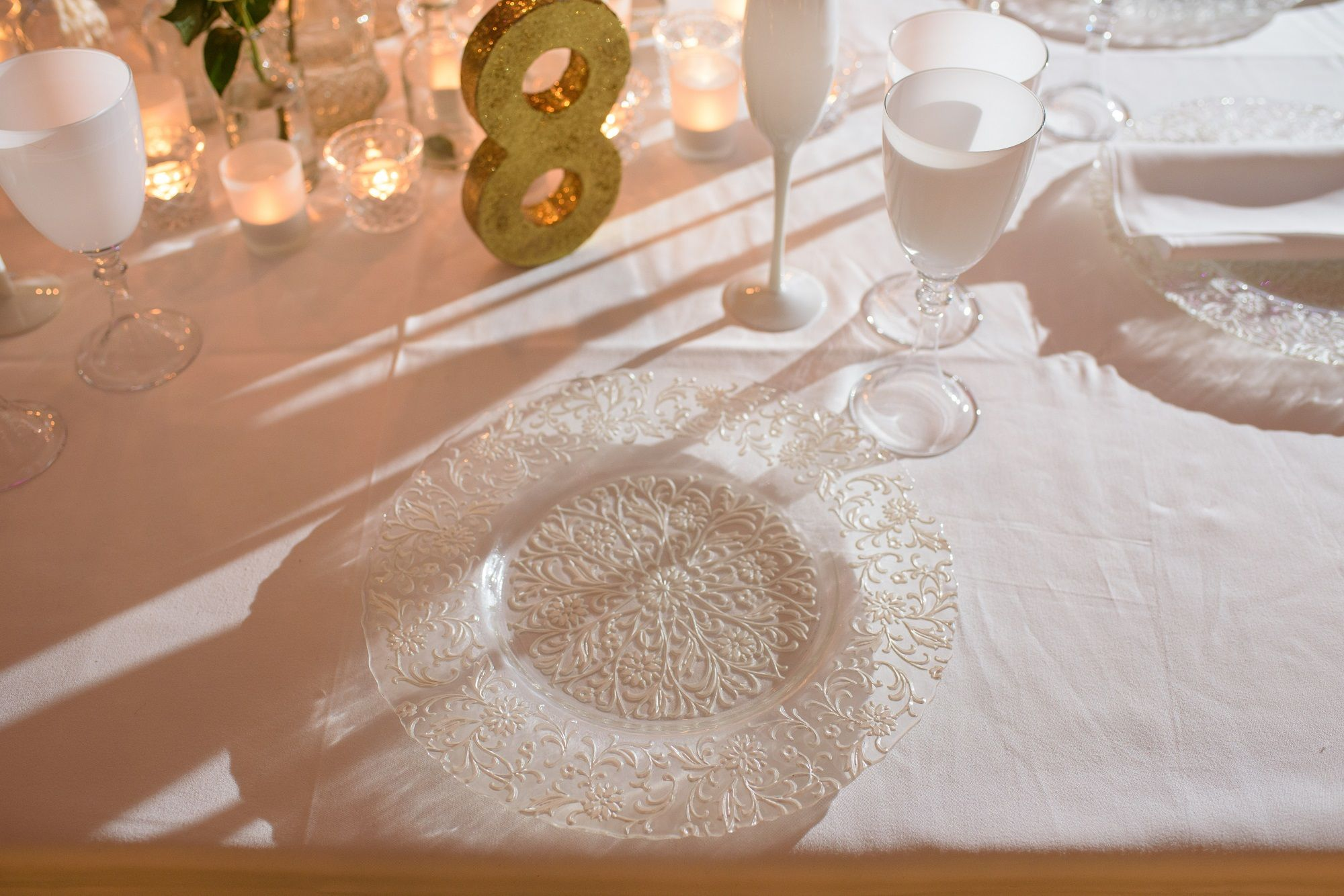 Lace Effect Glass Charger Plate