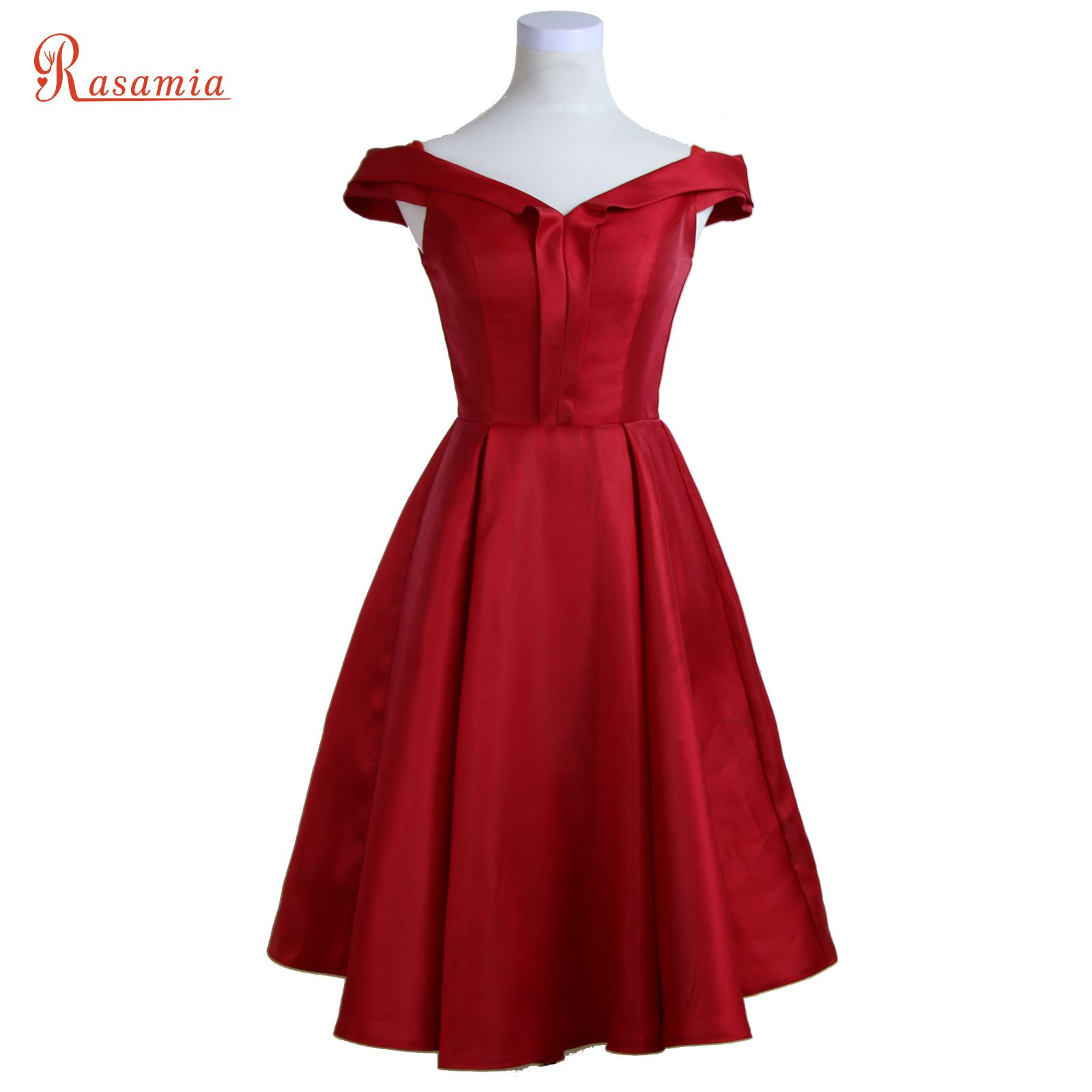 Red satin v neck evening dresses elegant vestidos prom dresses short