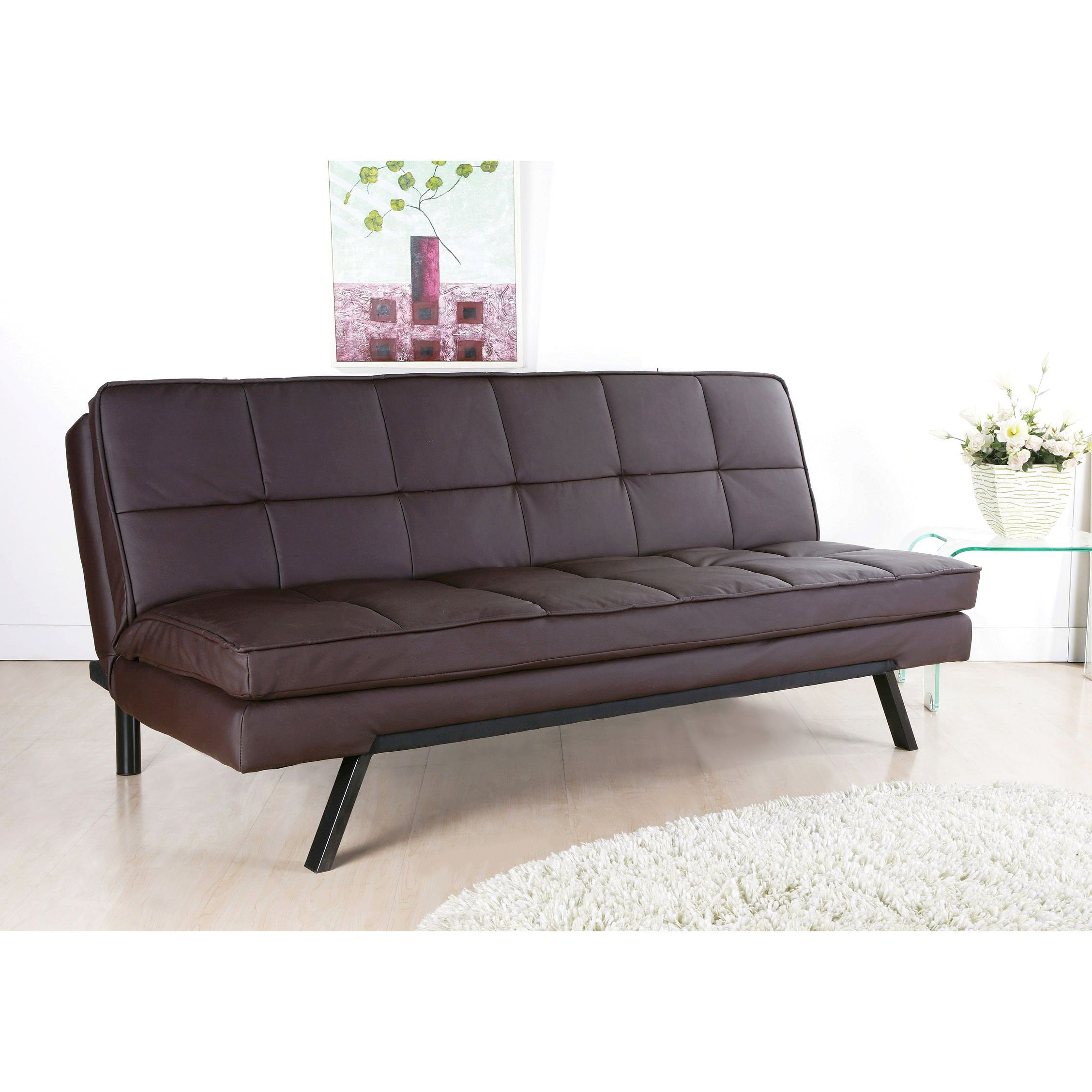 Abbyson Newport Faux Leather Futon Sleeper Sofa Dark Brown Size Twin