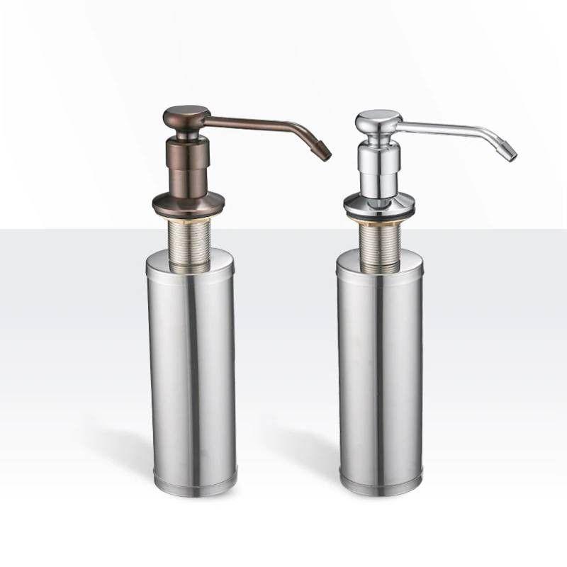 Deck Mounted Kitchen Soap Dispensers Round Pump Brushed Nickel Soap Dispensers For Kitchen Bu Kitchen Soap Dispenser Kitchen Soap Silverware Set