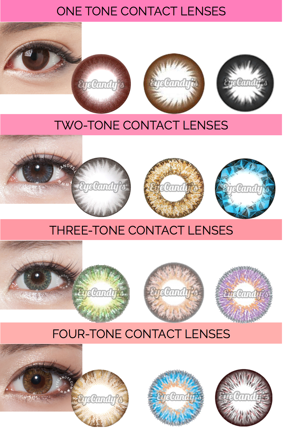 How Many Tones Should You Have In Your Color Contacts Read To Know Http Candye Colored Contacts Korean Cosmetics Beauty Products Contact Lenses Colored