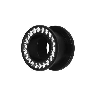 BIOPLAST FLESH TUNNELS WITH BLACK STEEL CRYSTAL ATTACHMENT WITH GLOSS FINISH