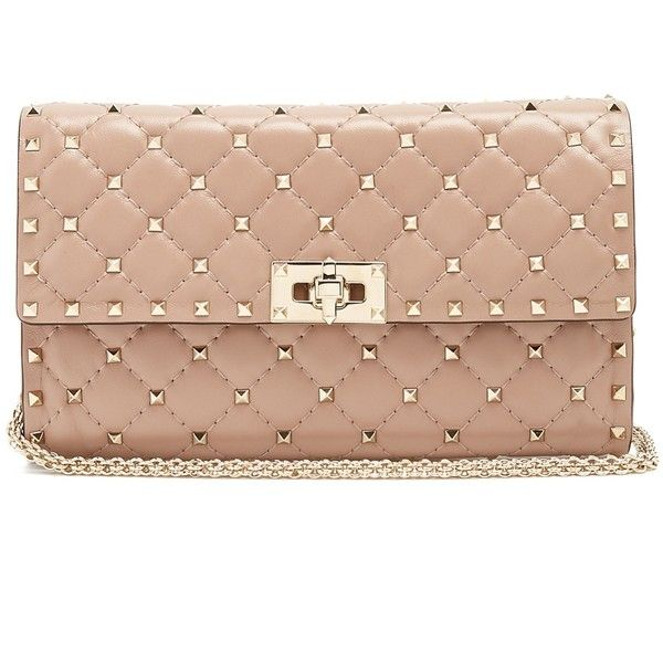 5ba48b8381f Valentino Rockstud Spike quilted-suede clutch ($1,500) ❤ liked on Polyvore  featuring bags, handbags, clutches, nude, chain-strap handbags, beige  handbags, ...