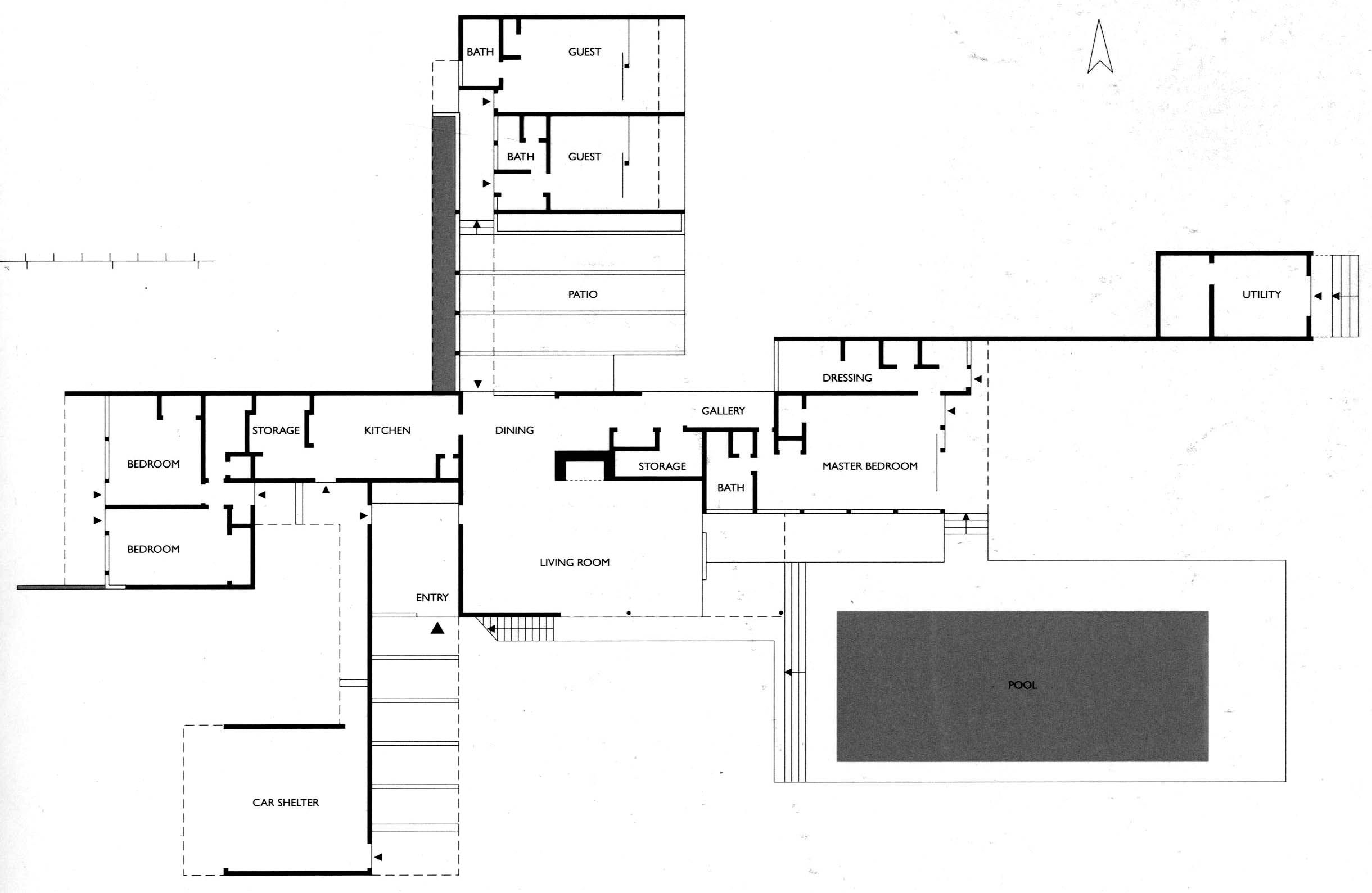 kaufmann desert house richard neutra 1946 the home On kaufmann desert house floor plan