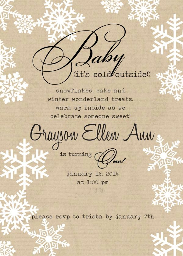 vintage winter invitation idea for first birthday party-simply ...