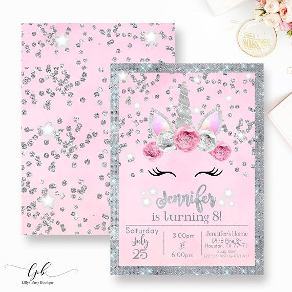 Unicorn Birthday Invitation Unicorn Floral Birthday Invitation