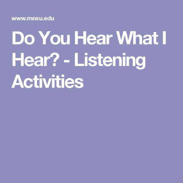 Do You Hear What I Hear? - Listening Activities | Lyrics, Active listening, Christmas carol