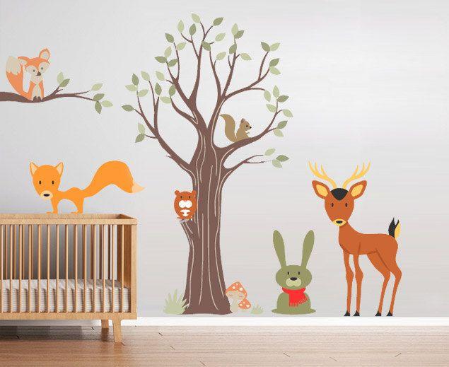 Wandtattoo Kindergarten Kindertattoos  Wald Tiere von